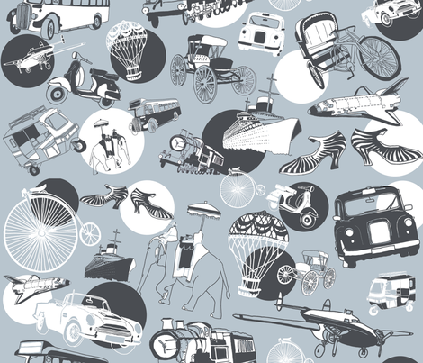 Penny Farthing & Vintage Transport fabric by torimclean on Spoonflower - custom fabric