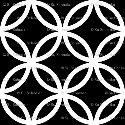 LARGE Fretwork circles, white on black by Su_G