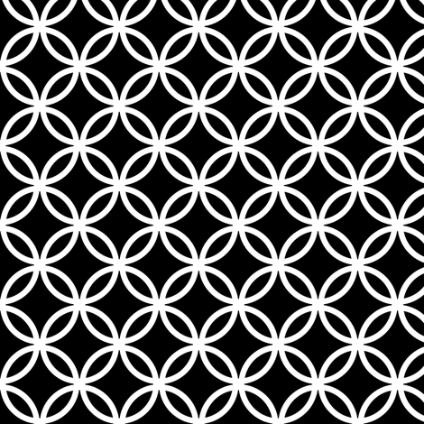 LARGE Fretwork circles, white on black by Su_G fabric by su_g on Spoonflower - custom fabric