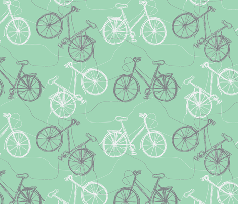blue thread bikes fabric by wednesdaysgirl on Spoonflower - custom fabric