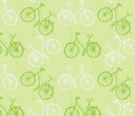 green thread cycles fabric by wednesdaysgirl on Spoonflower - custom fabric