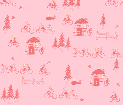ThisBikeIsJustRight_Pinks fabric by violet's_pet_spider on Spoonflower - custom fabric