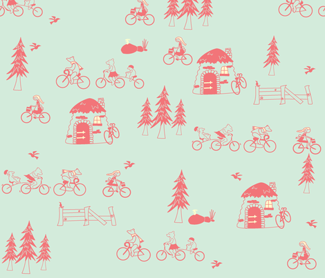 ThisBikeIsJustRight_Aqua fabric by violet's_pet_spider on Spoonflower - custom fabric