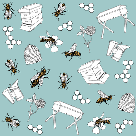 beekeeper - sky fabric by alicecantrell on Spoonflower - custom fabric