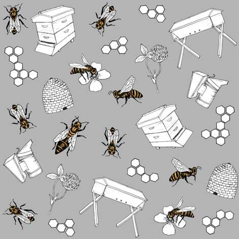 beekeeper - slate fabric by alicecantrell on Spoonflower - custom fabric