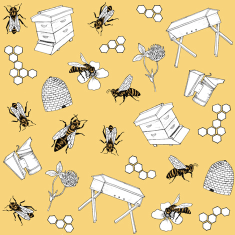 beekeeper - sunshine fabric by alicecantrell on Spoonflower - custom fabric