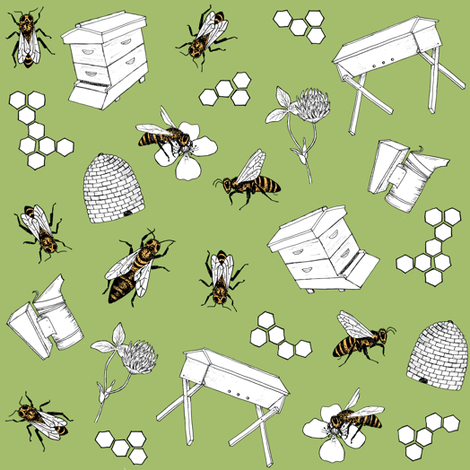 beekeeper - spring grass fabric by alicecantrell on Spoonflower - custom fabric