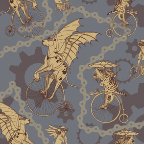 Steampunk Pets in Taupe and Slate Blue