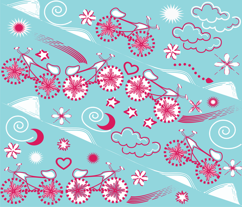 playful bike fabric by silviana on Spoonflower - custom fabric