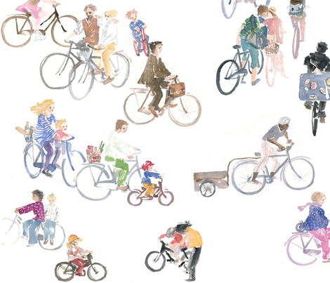 cyclists fabric by johanna_design on Spoonflower - custom fabric