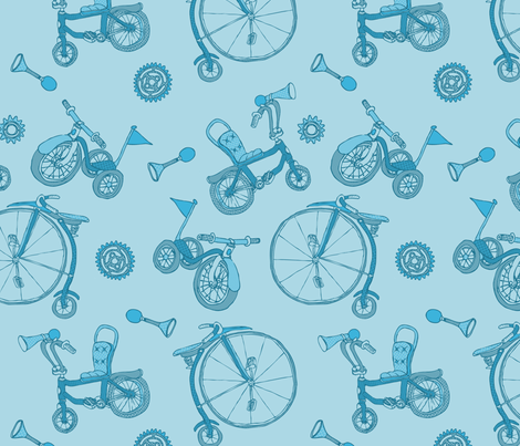 Pyjama Blue Bicycles fabric by meredithjean on Spoonflower - custom fabric