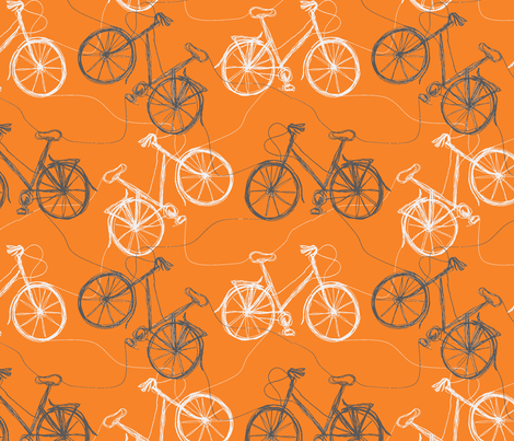 Tangerine thread bikes fabric by wednesdaysgirl on Spoonflower - custom fabric