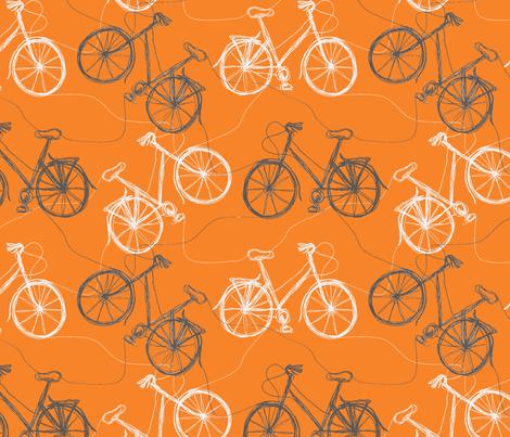 Tangerine thread bikes fabric by wednesdaysgirl on Spoonflower - custom fabric