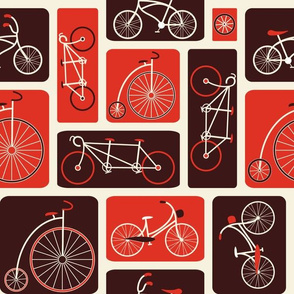 Retro Red Bicycle Love - by ebygomm - Large Scale
