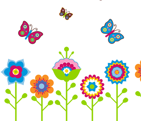 Retro Flower & Butterfly Panel with Border fabric by stitchwerxdesigns on Spoonflower - custom fabric