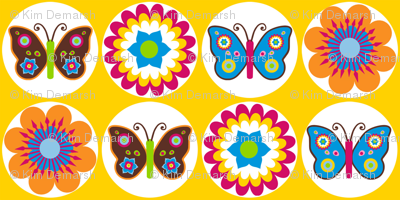 Flowers & Butterflies in Circles on Yellow