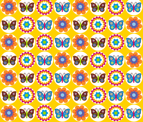 Flowers & Butterflies in Circles on Yellow fabric by stitchwerxdesigns on Spoonflower - custom fabric