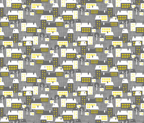 Le Village pendant la nuit fabric by zesti on Spoonflower - custom fabric