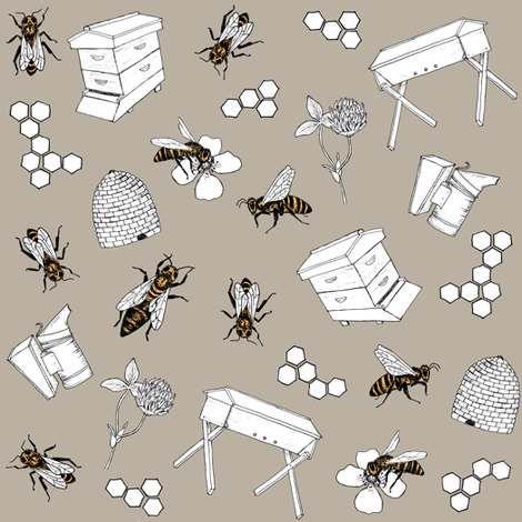 beekeeper - stone fabric by alicecantrell on Spoonflower - custom fabric
