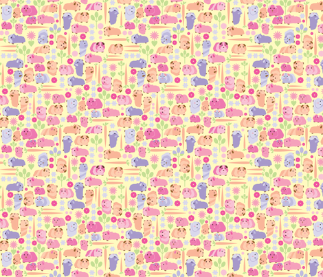 Pastel pink vege patch pigs fabric by upcyclepatch on Spoonflower - custom fabric