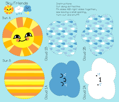 Skyfriends Mini Plush fabric by hugandkiss on Spoonflower - custom fabric