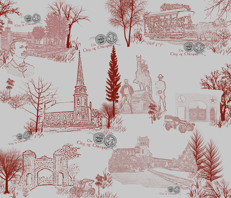 Your town toile de jouy Print fabric by dancingwithfabric on Spoonflower - custom fabric