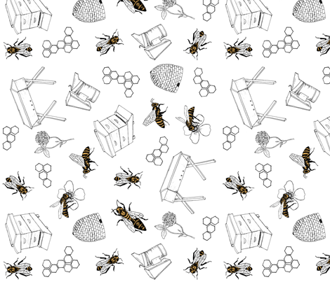 beekeeper tea towel fabric by alicecantrell on Spoonflower - custom fabric