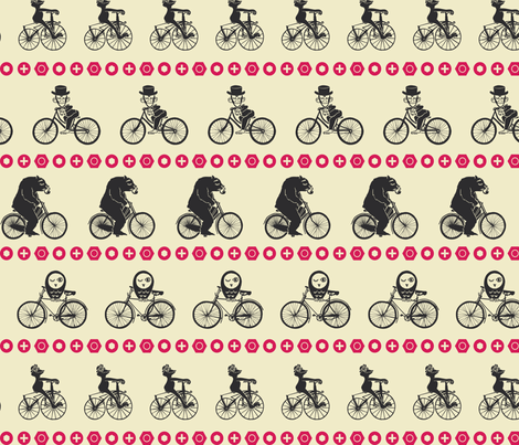 Animals on Bikes fabric by rheablah on Spoonflower - custom fabric