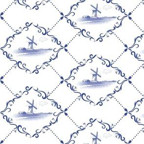 Wind mill Dutch tile (blue)