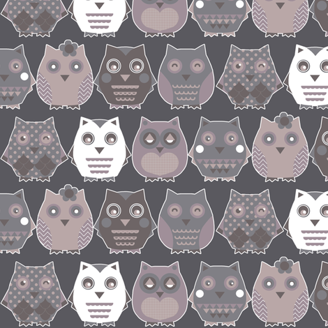 owls grey fabric by katarina on Spoonflower - custom fabric
