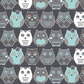 owls blue by katarina, Spoonflower digitally printed ...