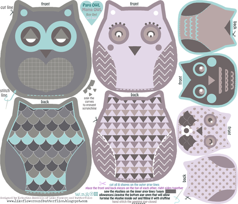 owls family cut and sew template fabric by katarina on Spoonflower - custom fabric