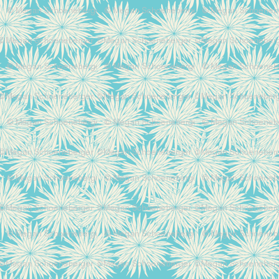 Aqua and White Flowers-Darker Aqua