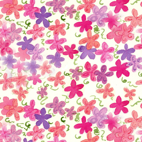 Pink Flower Shower fabric by countrygarden on Spoonflower - custom fabric