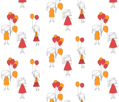 girlwithballoons3 fabric by meg56003 on Spoonflower - custom fabric