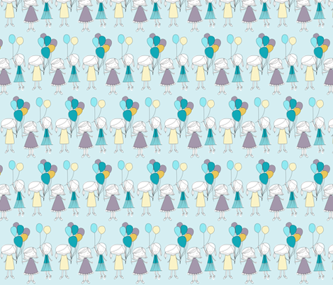 girlwithballoons9 fabric by meg56003 on Spoonflower - custom fabric