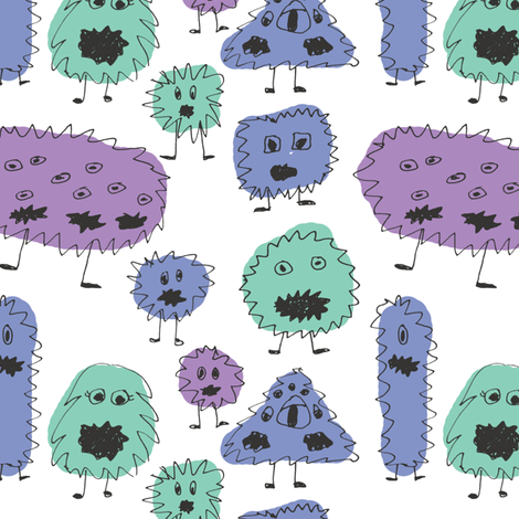 Yelling creatures fabric by studiojelien on Spoonflower - custom fabric