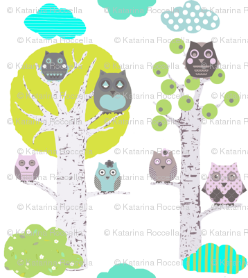 owls in trees white