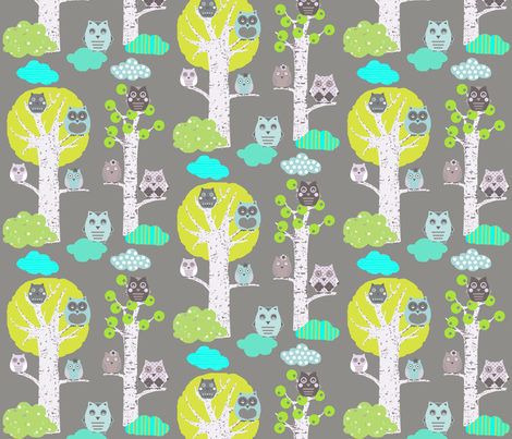 night owls in trees fabric by katarina on Spoonflower - custom fabric