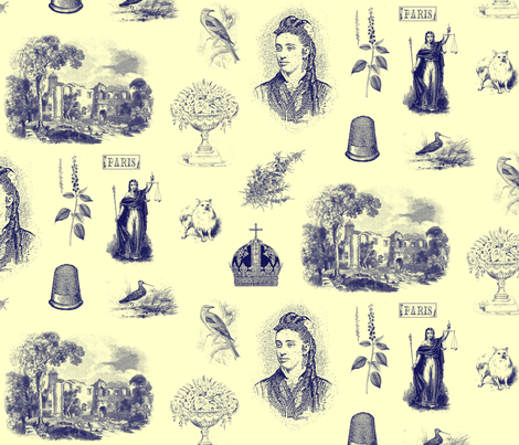 Bring me a Thimble from Paris (Inky Hues) fabric by wednesdaysgirl on Spoonflower - custom fabric