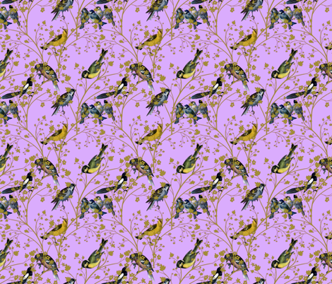 Georgian Birds on purple fabric by glanoramay on Spoonflower - custom fabric