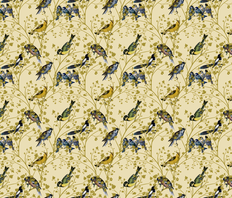 Georgian Birds on Cream fabric by glanoramay on Spoonflower - custom fabric