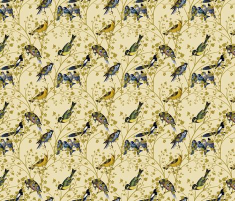 Georgian Birds on Cream fabric by glanoramay on Spoonflower - custom fabric
