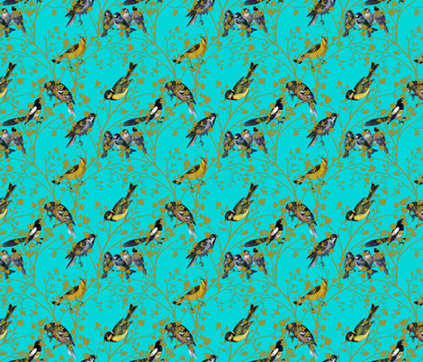 Georgian Birds on turquoise fabric by glanoramay on Spoonflower - custom fabric