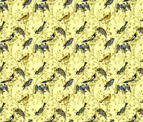 Georgian Birds on yellow fabric by glanoramay on Spoonflower - custom fabric