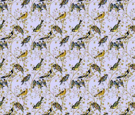 Georgian Birds on blue fabric by glanoramay on Spoonflower - custom fabric