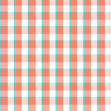 coral & aqua plaid fabric by xoelle on Spoonflower - custom fabric