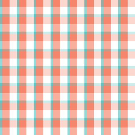 coral & aqua plaid #1551 fabric by xoelle on Spoonflower - custom fabric