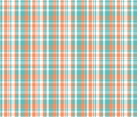 peachie teal plaid #1552 fabric by xoelle on Spoonflower - custom fabric