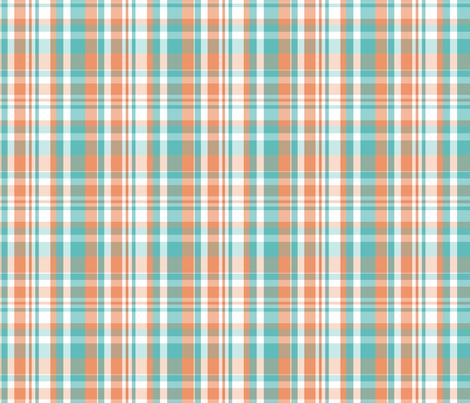 peachie teal plaid #1552 fabric by xoelle on Spoonflower - custom fabric